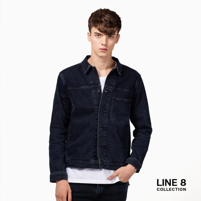 Line 8男士水洗牛仔机车夹克外套
